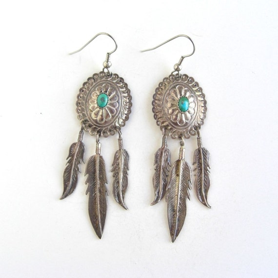 Vintage Sterling Silver & Turquoise Earrings - Southwestern, Feathers