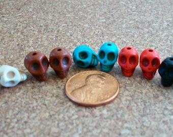 Skull Beads Tiny Multi Colored Pairs Stone