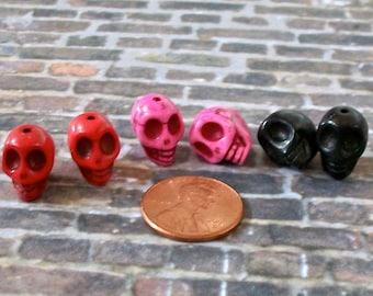 Tiny Hot Pink, Red, Black Pairs of Stone Skull Beads