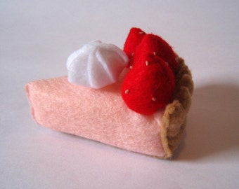 Felt food strawberry cream pie set eco friendly children's play food for toy kitchen