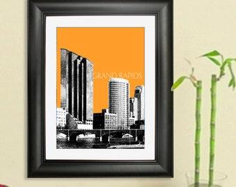Grand Rapids City Skyline -Grand Rapids Skyline Poster Art Print , 8x10 - Choose your color