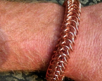 Mens copper bracelet thick copper chainmaille with healing properties