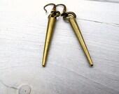 Spike Dangle Earrings in Antique Brass