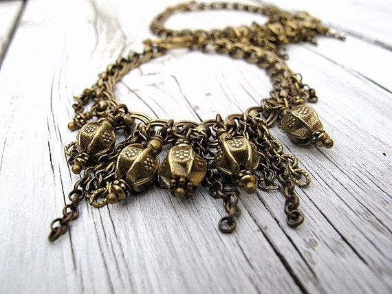 Antique Brass Chain Bracelets: Two Single Strand/ Set with Fringe and Beads, Bohemian