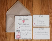 Mason Jar of Hearts Wedding Invitation Suite