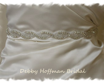 Wedding Dress Sash, 29 inch Rhinestone Crystal Bridal Sash, Bridal Wedding Belt, No 1121S, Beaded Wedding Sash, Belt, Wedding Accessories