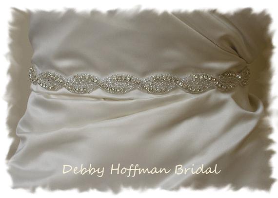 Rhinestone Wedding Dress Sash, Rhinestone Crystal Bridal Sash, Bridal Belt, Silver Beaded Wedding Belt, Jeweled Bridesmaid Sash, No 1121S,
