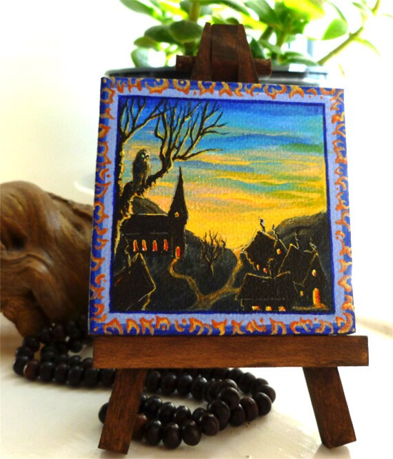 Spooky art mini canvas: Halloween village