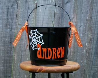 Monogram Hallween Bucket - Large with Spider Web Design