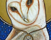 Barn owl Egyptian Pagan Mystical 5x7 signed art print