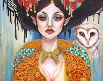 Fairy barn owl Celtic pagan Coimimeadh 11x14 fine art print