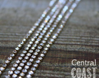 Raw Brass Dainty 2mm Rhinestone Chain - Cup Chain - 1 yard (3 feet) -  Solder or Patina - Central Coast Charms