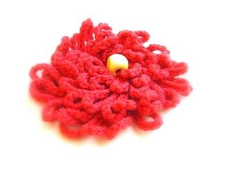 Coral Crochet Flower Brooch for Dress, Hat, Top, Felt Backing, Nickel Bar Pin