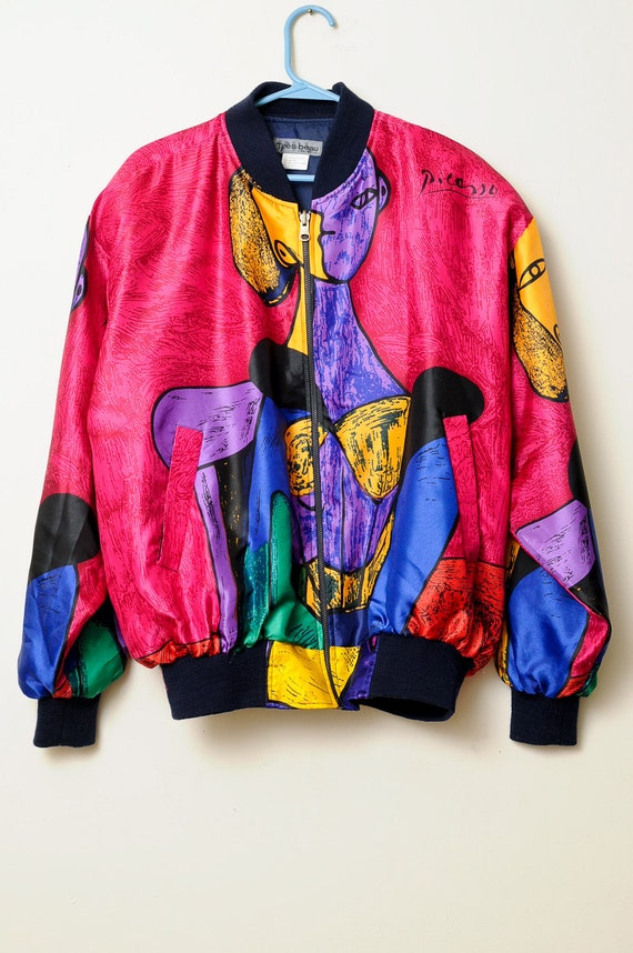 Vintage 80s/90s Picasso Zip Up Jacket Bright Colored Art Deco Abstract Picasso Art Work Print