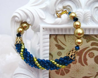 Beaded Bangle Bracelet For Girls in Blue, Yellow and Gold Tone Glass Pearls