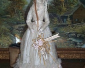 Primitive Queen Anne inspired Ooak Art Doll, by Julie Bailey