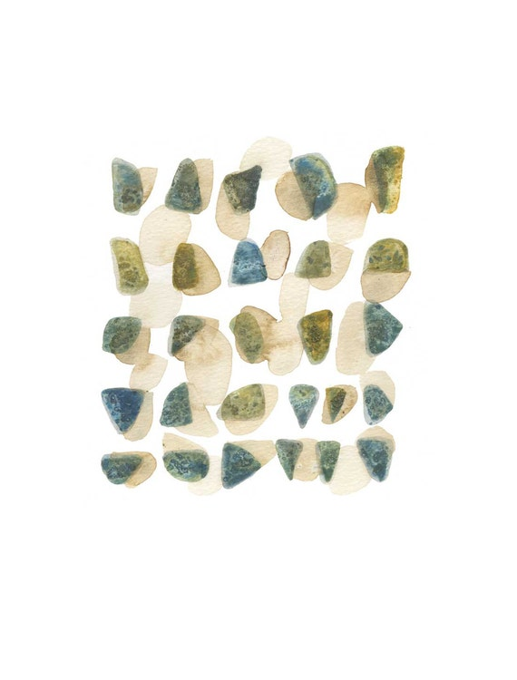 Home decor Art painting  Beach Finds Rocks pebbles  Abstract original watercolor man  blue green mossy Harvest