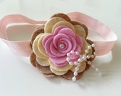 Pink, cream and brown felt flower and pearls bow headband - baby headband