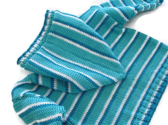 Childs hooded sweater, striped handknit hoodie, cotton DK yarn, unisex sweater, baby, blue