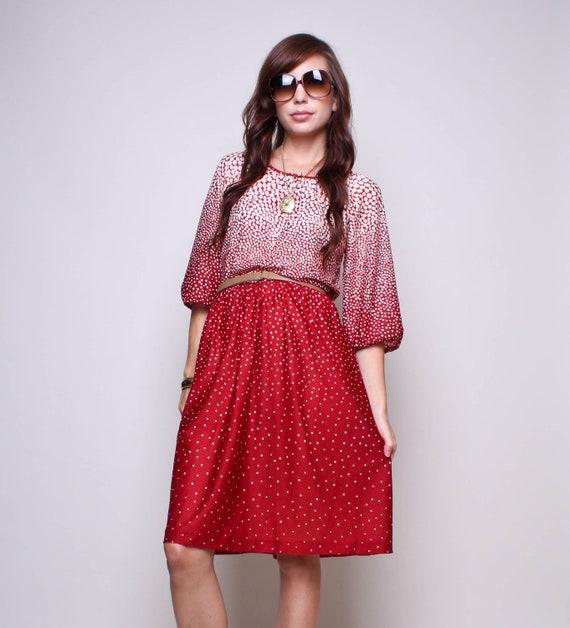 Vintage Dress 70s Boho Hippie Maroon and Cream High Waisted Dress