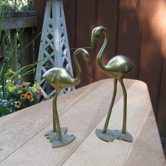 SALE - Pair of Vintage Brass Flamingos - Cranes - Made in Korea