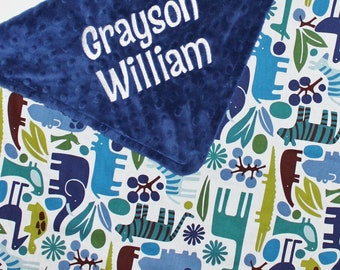 PERSONALIZED 2D Zoo Animals and Navy Minky Stroller Blanket