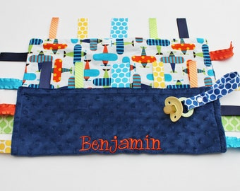 PERSONALIZED Baby Boy Airplanes Ribbon Tag Blankie with Pacifier Clip, Large 16 x 16 Navy Blue