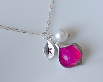 Personalized Calla Lily Necklace, Custom Initial Necklace, Hot Pink Chalcedony Initial Necklace,Bridesmaid Gift, Personalized Gift