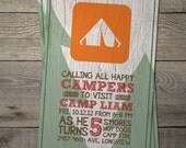 Camping Themed Party Invite