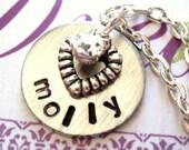 Personalized Name Necklace, Swarovski Crystal Necklace, Heart Necklace, Everyday Necklace, Everyday Jewelry, Hand Stamped Jewelry