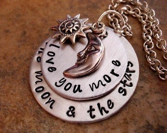 Moon Necklace, Sun Necklace, Moon and Star Necklace, I Love You More Than the Moon and the Stars