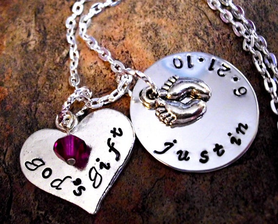 Items Similar To New Baby Necklace God S Gift Birth Date