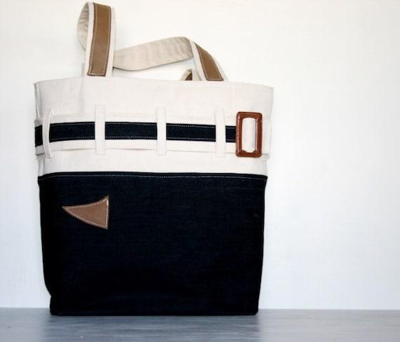 Canvas Leather and Denim Navy Blue Tote Nautical Coastal Bag Seaside Satchel