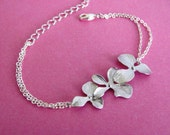 Silver Triple Orchid Flower Bracelet- elegant bridal jewelry, bridesmaids gift, available in gold.