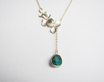 Gold Triple Orchids and Emerald Lariat Necklace- May birthstone, bridesmaids jewelry, available in silver and other birthstone colors.