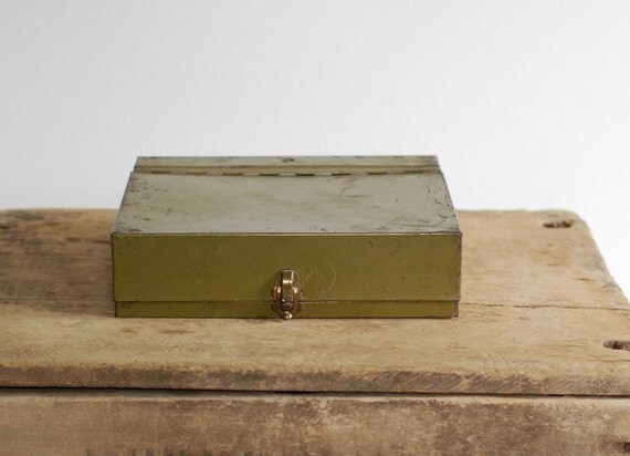 Vintage Army Green Metal File Box - Capitol Metal File