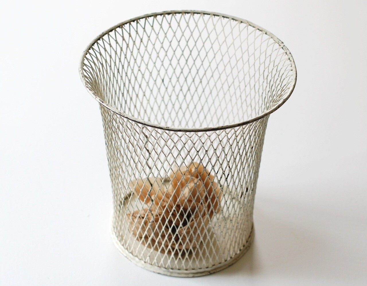 Vintage White Wire Waste Basket Office Trash Can Expanded