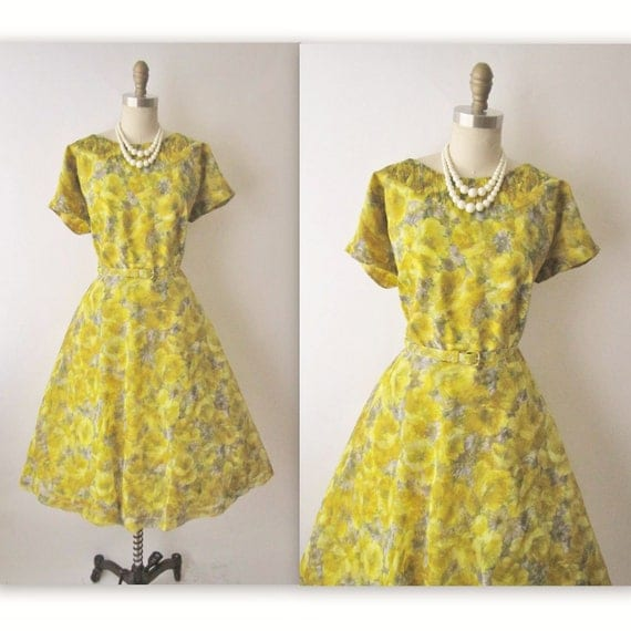50's Chiffon Dress // Vintage 1950's Floral Print Chiffon Garden Party Mad Men Cocktail Dress XL XXL
