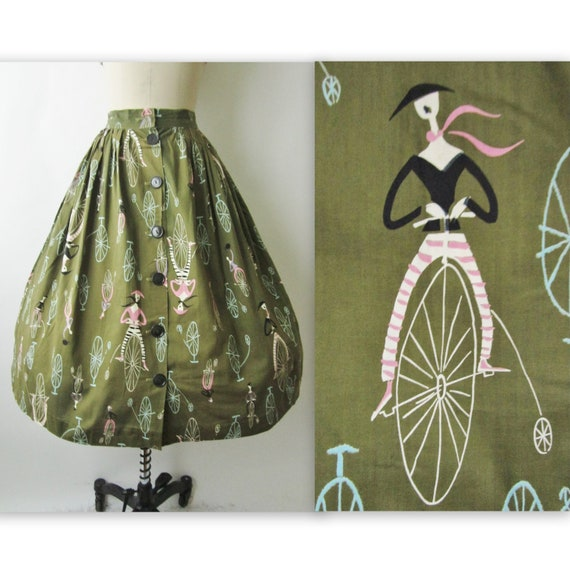 50's Novelty Print Skirt //  Vintage 1950's French Cyclist Print Novelty Cotton Mid Century Full Garden Party Skirt S