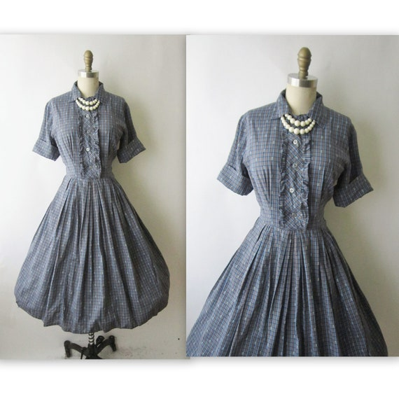 50's Plaid Dress // Vintage 1960's Blue Plaid Cotton Shirtwaist Casual Dress S
