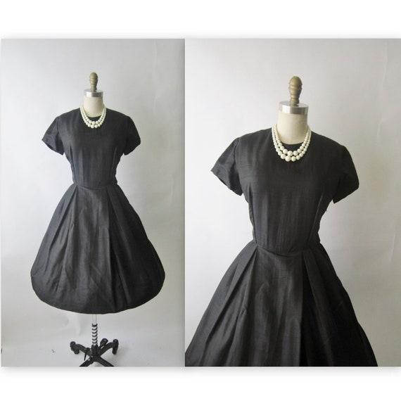 50's Black Cocktail Dress // Vintage 1950's Black Cocktail Party Audrey LBD Dress S M