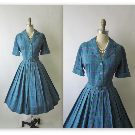 50's Plaid Dress // Vintage 1960's Plaid Cotton Shirtwaist Casual Mad Men Dress L XL