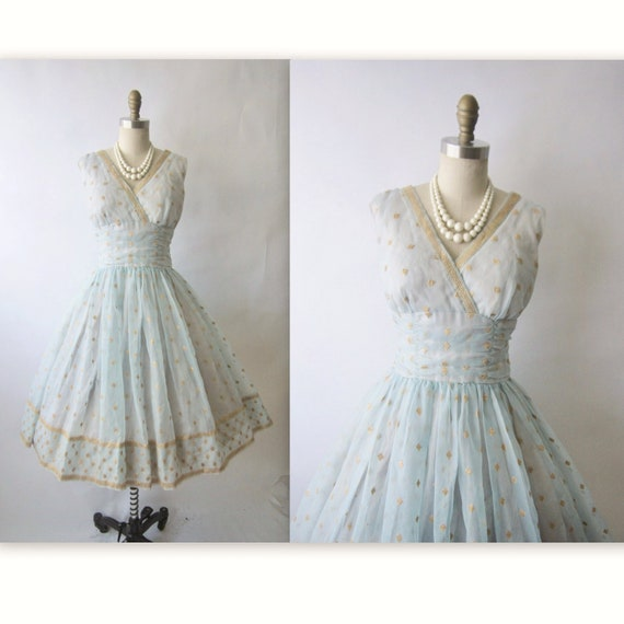 Reserve for Cheryl 50's Chiffon Dress // Vintage 1950's Embroidered Gold Blue Chiffon Party Prom Wedding Dress M
