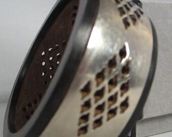 Vintage Bracelet Wooden Bangle, Bone, Wood, Silver Metal Bracelet, 1970s Bangle