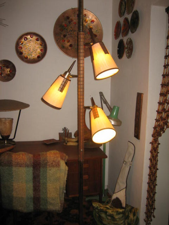 8 Foot Tension Pole Lamp Midcentury Danish Style Brass