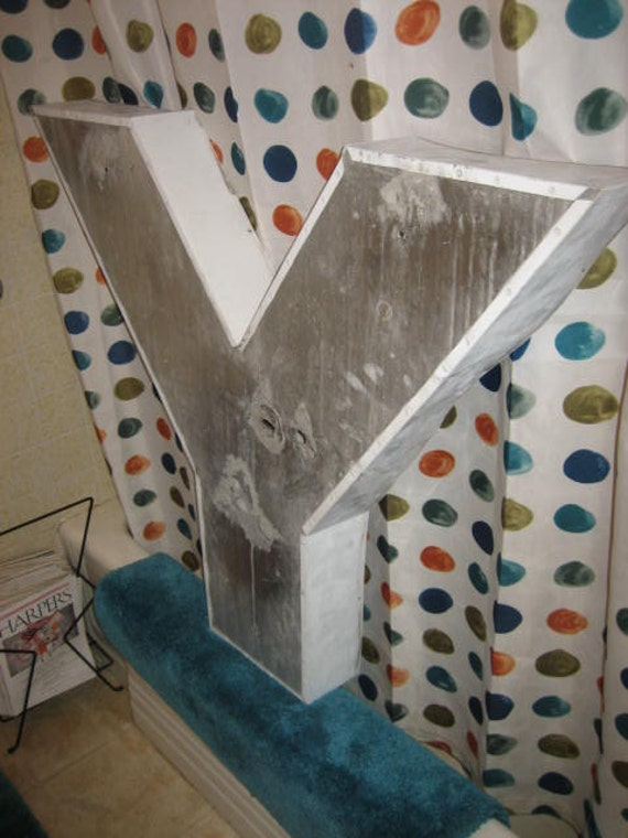 Whoppingly Big Reclaimed Industrial Salvage Metal Advertising Channel Sign Letter: Giant White & Silver Capital Initial Y, Distressed Patina