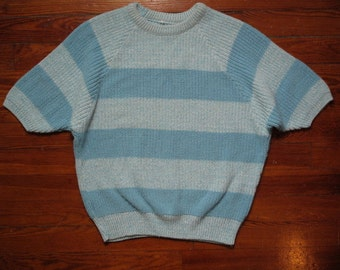 women's vintage baby blue striped sweater