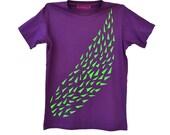 Men's purple T-shirt with school of green neon fish