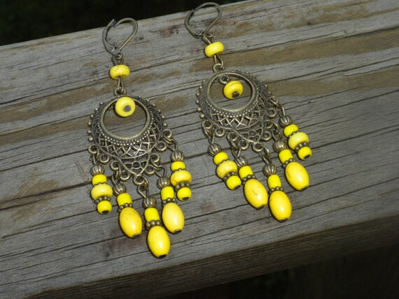 SALE-Yellow chandeliers, bright, vintage, gypsy style, hippie, Bohemian, fashion, antique brass, festival, handmade, EARRINGS, gift idea