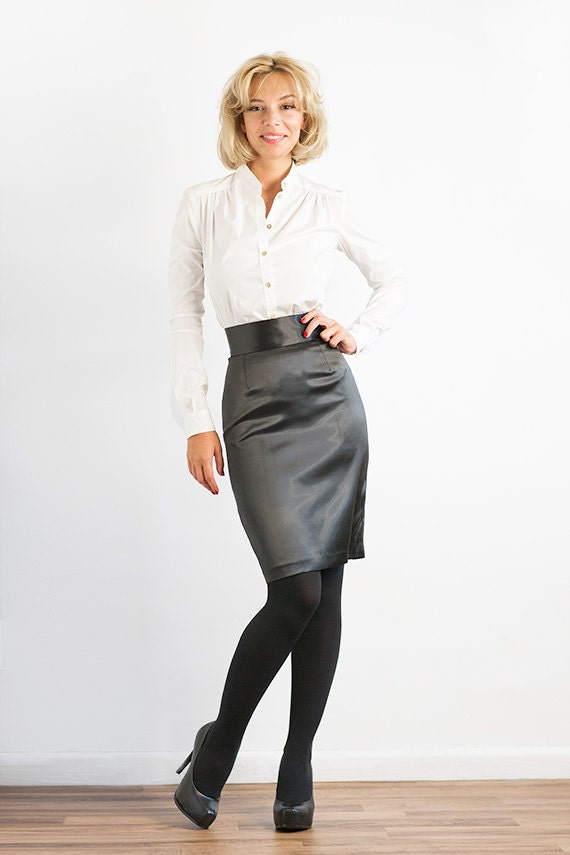 CLEARANCE Black Stretch Satin Pencil Skirt